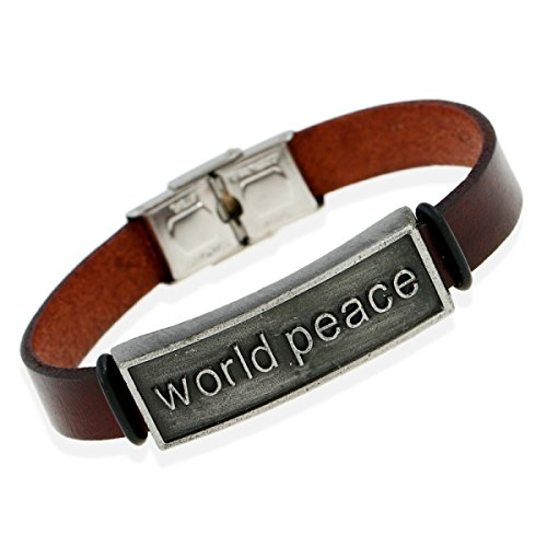 LZHM Antik Kreis Lederarmband Für Unisex Urban Surfer Brown Stulpe-Armband Den Weltfrieden