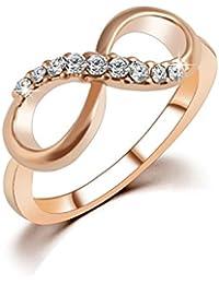 VANKER Número 8 Anillo Cristal Rose plateó el infinito con circón Tamaño: 9