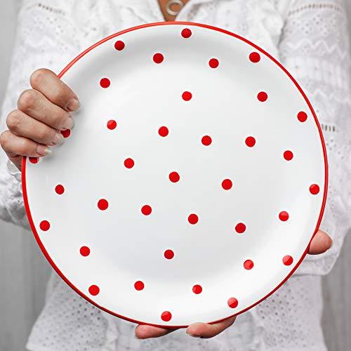 City to Cottage   Assiette plate   blanche à pois rouges en céramique faite et peinte à la main   25,5cm