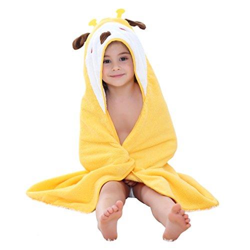 MICHLEY peignoir bebe fille serviette 100% coton naturel Encapuchonné Animal peignoir, Extra Large 90x90 cm Serviettes de plage pour les Garçons Filles 0-6T Jaune