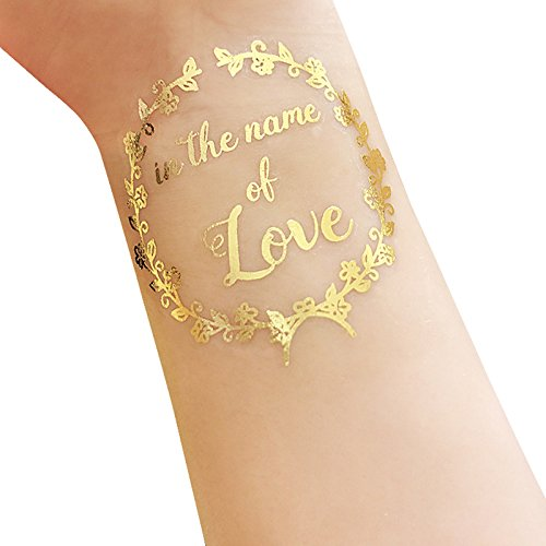 Lanlan Hochzeit Party Dekoration Foto Requisiten Bride & Groom temporäre Tattoo Metallic Gold Buchstaben Transfer (Temporäre Requisiten)