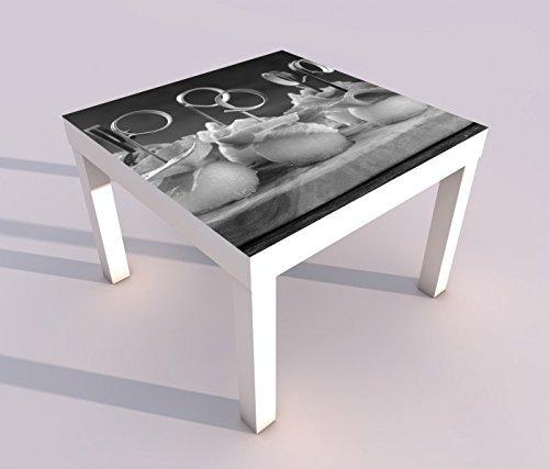 Design - Tisch mit UV Druck 55x55cm schwarz weiss Mediterran Melone Honigmelone schinken Essen Küche Spieltisch Lack Tische Bild Bilder Kinderzimmer Möbel 18A2221, Tisch 1:55x55cm