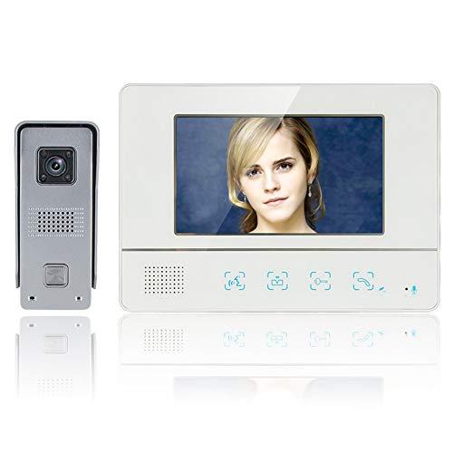 H.l campanello video da 7 pollici con tft a colori touch screen, campanello intelligente, sistema di controllo accessi per famiglie, telecamera di visione notturna con copertura impermeabile