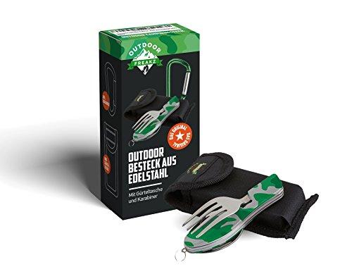 Outdoor Freakz Outdoor Campingbesteck Klapp-Besteck aus Edelstahl mit Gürteltasche, Das Original! (Camouflage grün)