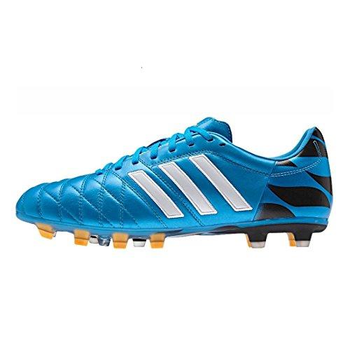 Adipure 11 Pro TRX FG - Chaussures de Foot Noir/Blanc/Solar Slime bleu