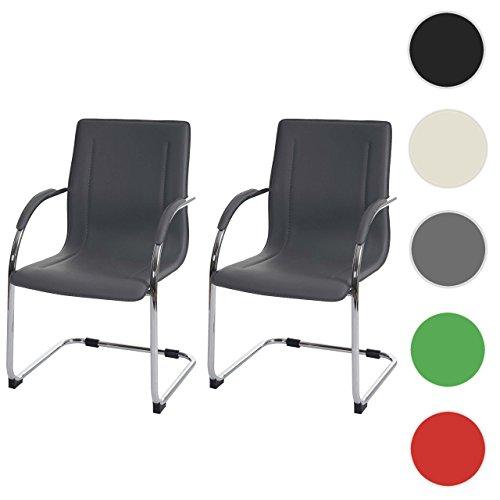 2x Konferenzstuhl Samara, Besucherstuhl Freischwinger, PVC ~ grau