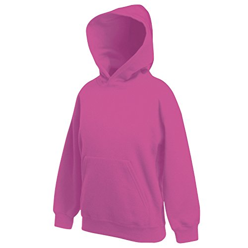 Fruit of the Loom Kapuzenpullover, Kids Kinder Hoodie Sweatshirt-Pullover, Gr. 170, Rosa - Fuchsia