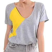CRYYU Women Short Sleeve Color Blocked Crew Neck Patchwork Summer Casual Top T-Shirt Blouse Grey XXS
