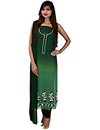Antarnaad Women's Georgette Straight Chikankari Unstitched Dress Material (AP0121, Green)