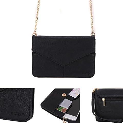 Conze Mujer embrague cartera todo bolsa con correas de hombro compatible con Smart teléfono para Alcatel OneTouch Pop Star (3G)/(4G) negro