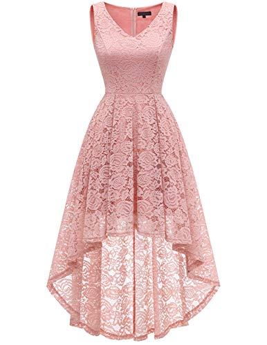 bridesmay Damen Hi-Lo Spitzenkleid Ärmellos Unregelmässig Vokuhila Kleid Cocktailkleid Brautjungfernkleider Blush M (Blume Schönheit Blush)