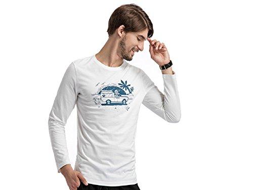 BOMOVO Herren BLAU GRUN Slim Fit Langarmshirt Western Shirt Weiß