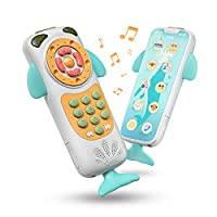 TUMAMA Baby Toys,BabyMobile Phone Two Sides Toy Early Educational Toys,Learning, Birthday Gift for 9, 12, 18 Month, 1, 2 Year Olds, Infants, Boys, Girls (White)