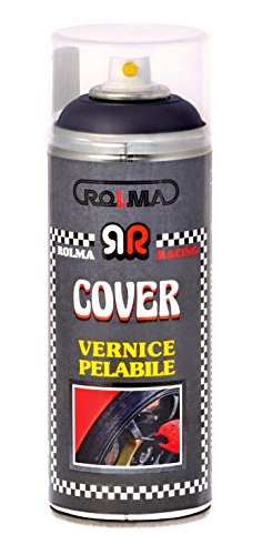 Rolma cover vernice removibile nero opaco - removable paint - bomboletta spray 400 ml. - spray can 400 ml.