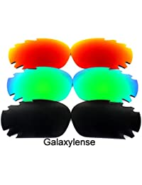 19379c6f26 Galaxylense Replacement Lenses for Oakley Racing Jacket Black Green Red  Color Polarized 3 Pairs ...