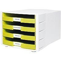 HAN Schreibtisch-Schubladenbox IMPULS / Stapelbare Sortierablage mit 4 großen Schubladen für DIN A4/C4 inkl. Beschriftungsschilder / 29,4 x 36,8 x 23,5 cm (BxTxH) / Lemon/Weiß