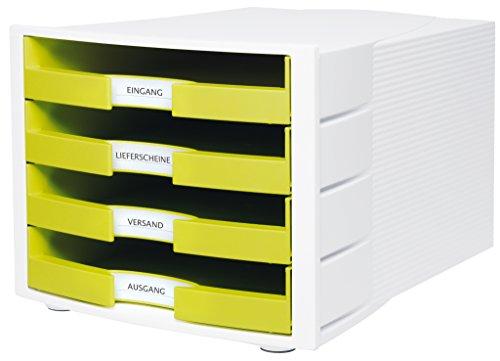HAN Schreibtisch-Schubladenbox IMPULS – Stapelbare Sortierablage mit 4 großen Schubladen für DIN A4/C4 inkl. Beschriftungsschilder – 29,4 x 36,8 x 23,5 cm (BxTxH) – Lemon/Weiß