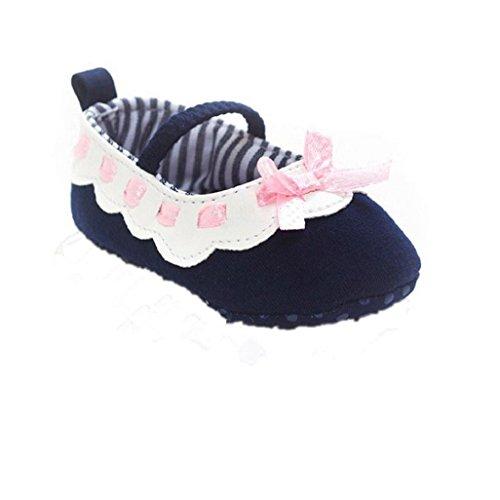Auxma Baby Prewalker Schuhe,Baby Bowknot Schuhe,Sneaker Anti-Rutsch-Soft Sole Kleinkind Schuhe für 0-18 Monat (12-18 M, Rosa) Marine