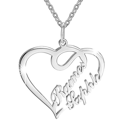 Soufeel Damen Kette mit Herz Anhänger Offen Halskette Namenskette mit Ihr Namen 925 Sterling Silber Geschenk für Frauen