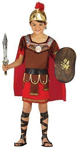 Jungen Römischer Centurion Grichischer Soldaten Armee Warrior Gladiator Historische Buch Tag Kostüm Verkleidung Outfit - Rot, 7-9 (Kostüm Zubehör Römischen Römischer Soldat Helm)