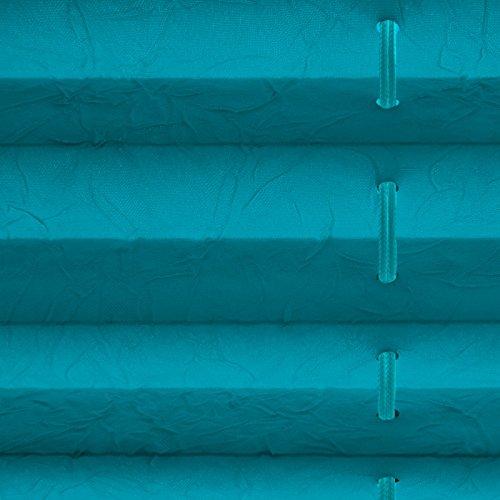 Plissee Rollo / Jalousie | Sichtschutz ohne Bohren, Klemmfix | Faltstore in moderner Crushed Optik | Türkis | Größe wählbar (100 cm Länge x 80 cm Breite) - 4