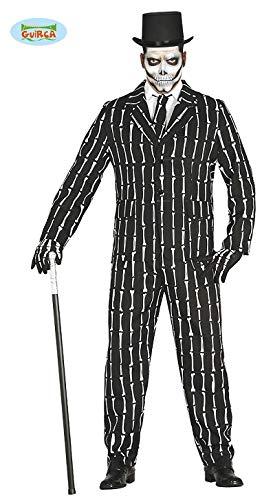 Knochen Anzug Halloween Kostüm für Herren Halloweenkostüm Herrenkostüm Sakko Hose Skelett Suit mit Krawatte Gr. M-L, (Halloween Kostüm)