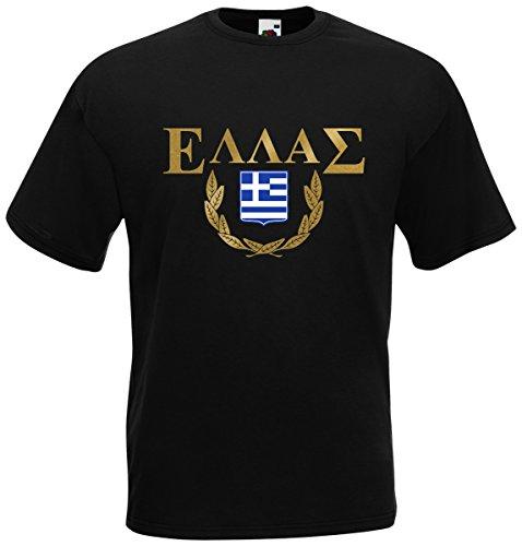 AkyTEX Griechenland Hellas T-Shirt Fanshirt (Schwarz, L)