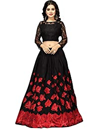 Nplash Fashion Women's Satin Silk Lehanga Choli (!Rose black _Red&black_ Free Size)