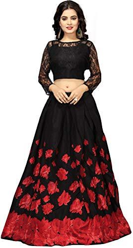 Nplash Fashion Women\'s Satin Silk Lehanga Choli (!Rose black _Red&black_ Free Size)