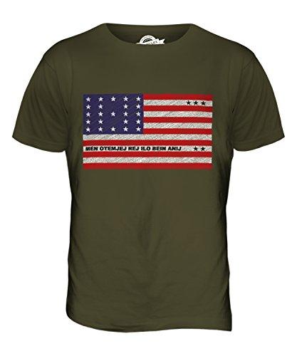 CandyMix Bikini-Atoll Kritzelte Flagge Herren T Shirt Khaki Grün
