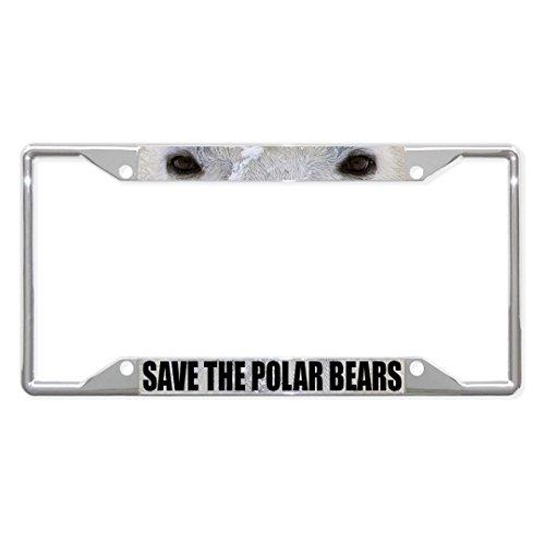Preisvergleich Produktbild Save The Polar Bears Tieraugen Metall-Kennzeichenrahmen mit 4 Löchern perfekt für Männer und Frauen