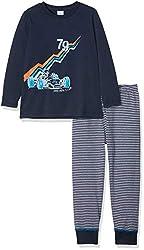 Sanetta Jungen Pyjama Long Zweiteiliger Schlafanzug, Blau (Classic Blue 5390.0), 128