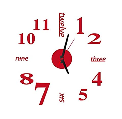 Tonsee Moderne Kunst DIY große Wand Clock 3D Aufkleber Design Home Office Raum Dekor (rot)