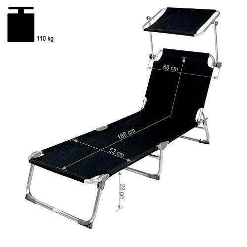 TecTake® Gartenliege Sonnenliege Strandliege Freizeitliege mit Sonnendach 190cm schwarz - 6