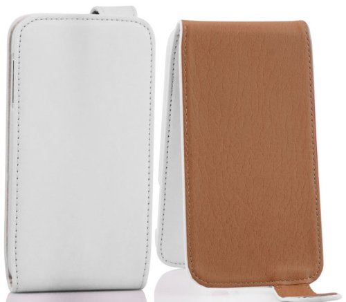 Cadorabo Hülle für Motorola RAZR I - Hülle in POLAR WEIß – Handyhülle aus glattem Kunstleder im Flip Design - Case Cover Schutzhülle Etui Tasche