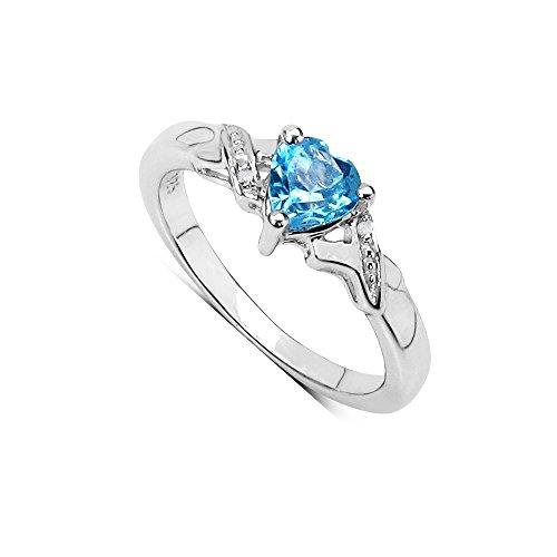 Die Sammlung der Ring Blauer Topas: Silber Ring,b Kleines Herz Blau Topas Swiss, Verlobungsring und Diamant, Ring Größe 58 (Kleine Herzen Ring)