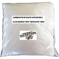 1Kg Carbonato de calcio muy fino impalpable 0-100 micrones - Polvo de mármol Caco3 - Inert para resina y yeso - Útil para suelos Ph - Zootecnia - Artes - Artesanía - Construcción - Cerámica