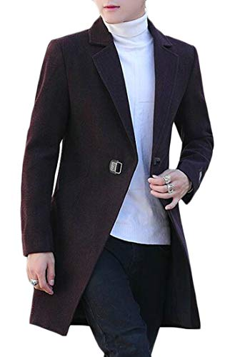 EKU Herren Single-Breasted Casual Slim Luxury Wool Blend Trench PEA Coats Gr. X-Small, weinrot Wool Blend Trench