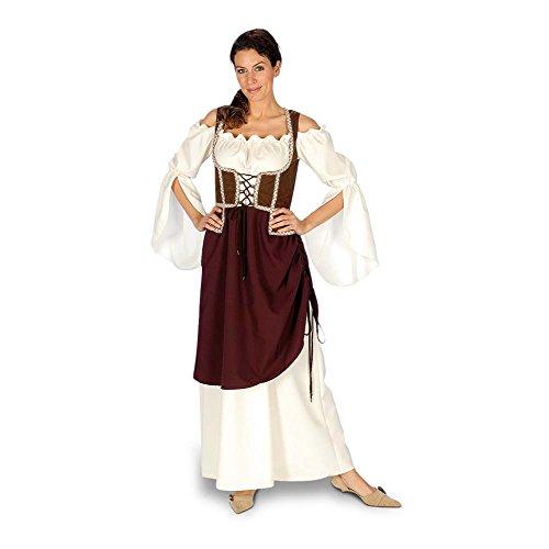Frau Kostüm Wirtin (Magd Wirtin Marktfrau Mittelalter Kostüm Damen, Kleid mit Mieder und Überrock, Komplettkostüm -)