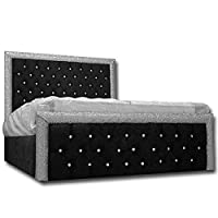Silverline Beds New Official Princess Bed Floor Standing Frames in Luxurious Black Crush With Glitter Bumper Bar
