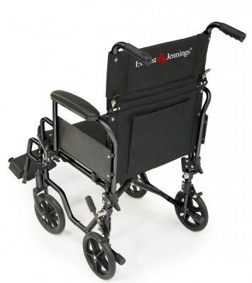 Everest & Jennings EJNAV-18RD Navigator Transport Wheelchair, Flip Back Desk Arm, Swing Away Footrest, 18' x 16', Red
