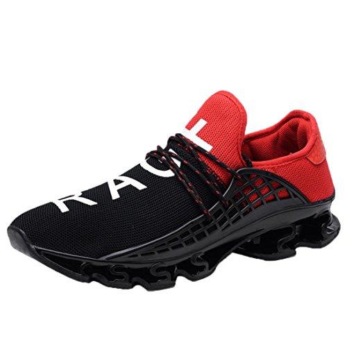 Hombre Zapatillas de Deporte Zapatos Deportivos Men Elastic Mesh Sneakers  Casual Sport Athletic Breathable Running Shoes ef586fa1f