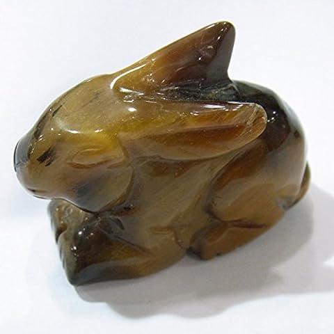 Thetastejewelry 18x 25mm sculpté Animal œil de tigre Lapin Bijoux Collier Healing