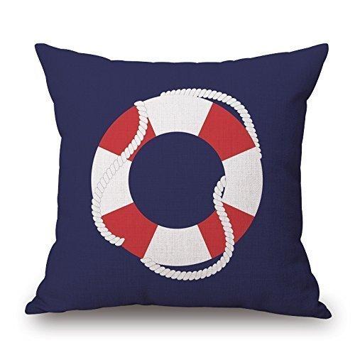 Funda de cojín con diseño de la vida náutica, color blanco y rojo, 45,7 x 45,7 cm