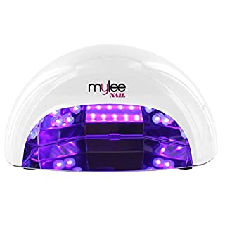 Mylee High Quality LED Lamp 5-Finger 12 Watt Dome Lamp, Cures Gel Polish in Seconds with 15, 30 and 60 Second Timer. Features a Removable Magnetic Tray and Motion Activated Sensor (White)