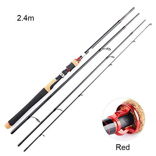Delidraw Angelrute aus Kohlefaser, Ultraleicht, aus Kork, tragbar, Griff aus Angelruten 2.4m Rot -
