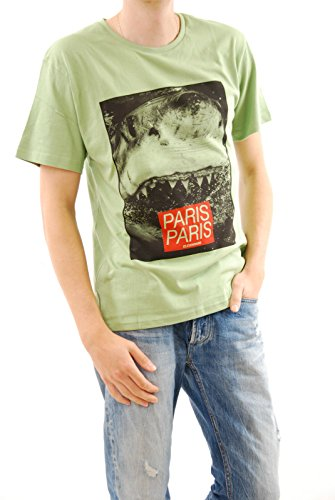Eleven Paris Uomini Verde Shark nuova t-shirt a maniche corte Formato normale M