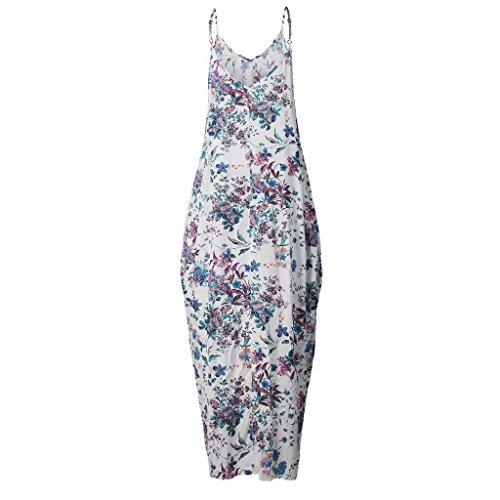 Damen V-Ausschnitt Taschen Beachwear hibote Lang Maxikleid Boho Beiläufige Cocktail Bademode Partykleid Sommer Strandkleid S--XXXL Blau