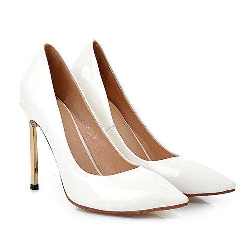 COOLCEPT Femme Mode A Enfiler Chaussures Basse Talon Aiguille Pointue Chaussures Blanc