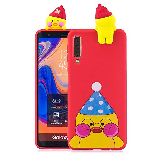 Funluna Samsung Galaxy A7 2018 Hülle, Ultra Dünn Niedlich 3D Karikatur Ente Muster Case Silikon Handy Schutzhülle TPU Weich Back Shell für Samsung Galaxy A7 2018, Rot